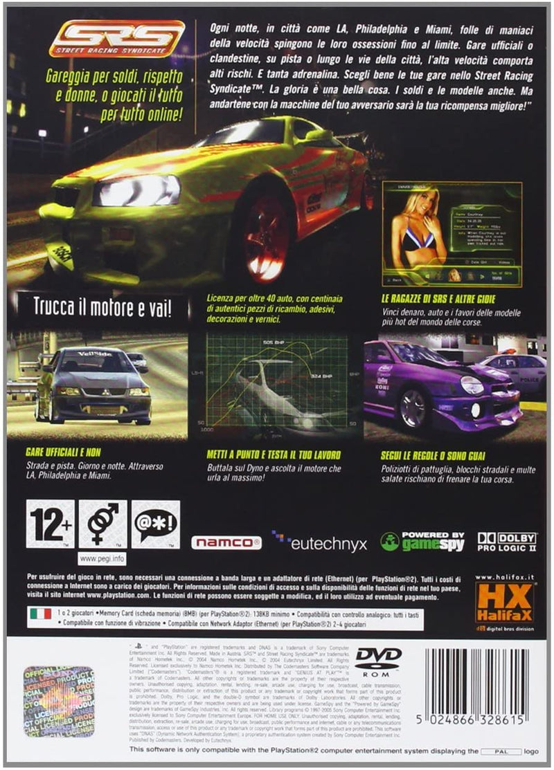 SRS STREET RACING SYNDICATE PLAYSTATION 2 EDIZIONE ITALIANA