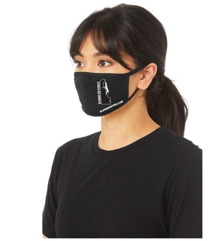Soft comfortable High Quality DRP Face Masks 🖤 Black Mask with White Delaware Logo 🤍 T-Shirts & M/F