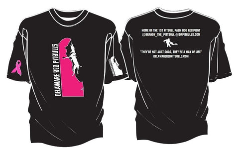 Soft High Quality double thread DRP Cancer awareness Tee-shirt w/ 🎀  Black Tee with Pink Delaware Logo 💞T-Shirts & M/F