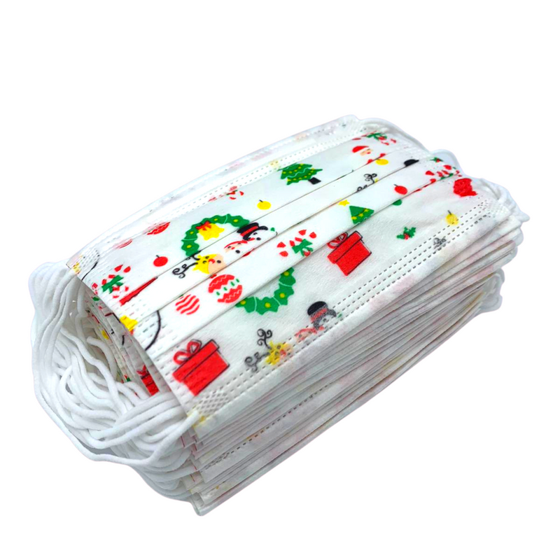 KIDS EDITION - Disposable Protective 3-Ply Masks - CHRISTMAS Assorted 5 Designs - 50 Pack
