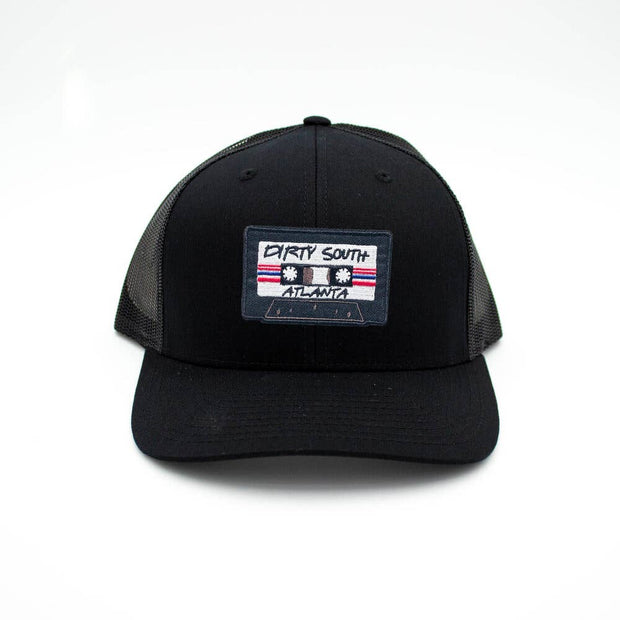 Dirty South Atlanta Cassette Trucker Hat - Black/ Black - Bill Hallman- Inman Park