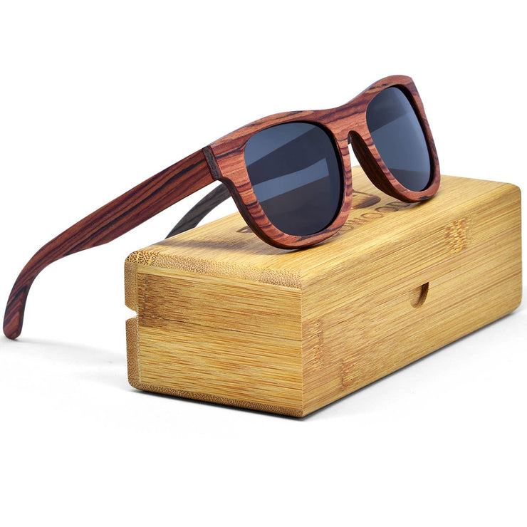 GOWOOD - Rosewood and Walnut Sunglasses with Black Polarized Lenses - Bill Hallman- Inman Park