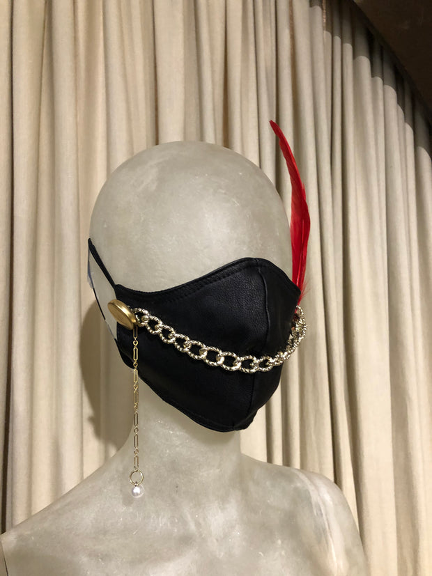 BH LEATHER PEARL PENDANT FEATHER MASK #9/19 - Bill Hallman- Inman Park
