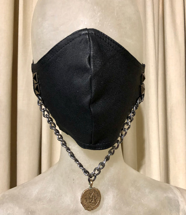 BH LEATHER MASK WITH VINTAGE COIN #14 - Bill Hallman- Inman Park