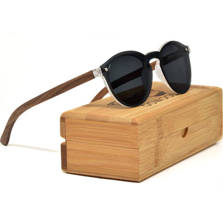GOWOOD - Round Walnut Wood Sunglasses with Black Polarized Lenses - Bill Hallman- Inman Park