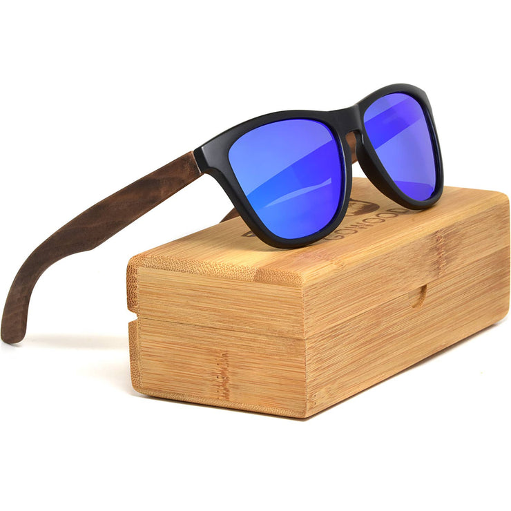 GOWOOD - Classic Walnut Wood Sunglasses with Blue Polarized Lenses - Bill Hallman- Inman Park