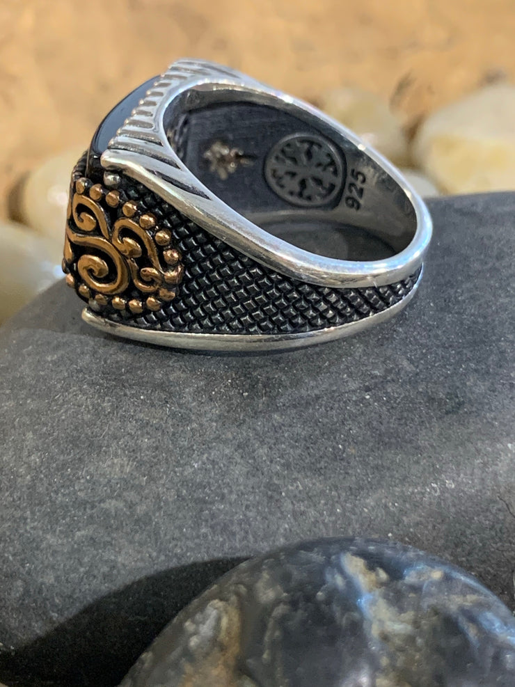 Black Onyx Celtic Ring - Bill Hallman- Inman Park