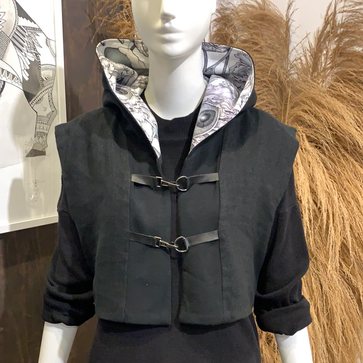 BH Cropped Hooded Vest With Mixed Fabrics - Bill Hallman- Inman Park