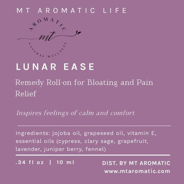 LUNAR EASE Synergy Massage Roll-on for Bloating, Cramps Relief - Aromatherapy Synergy Blend, Natural remedies - Feeling of Calm and Comfort