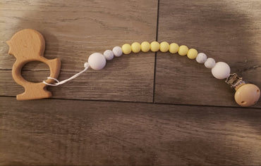 Pacifier Holder & Wooden Teether Combo