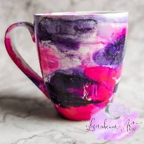 Alcohol Ink Bright Pink & Purple Mug