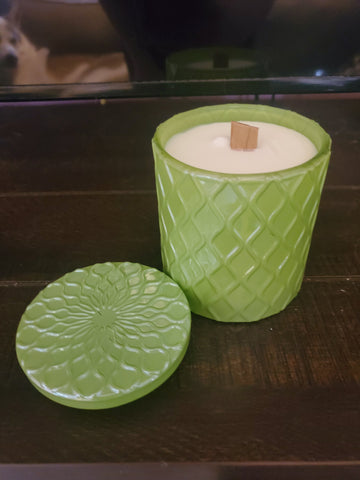 Whistler pine candle in green vessel with wooden wick