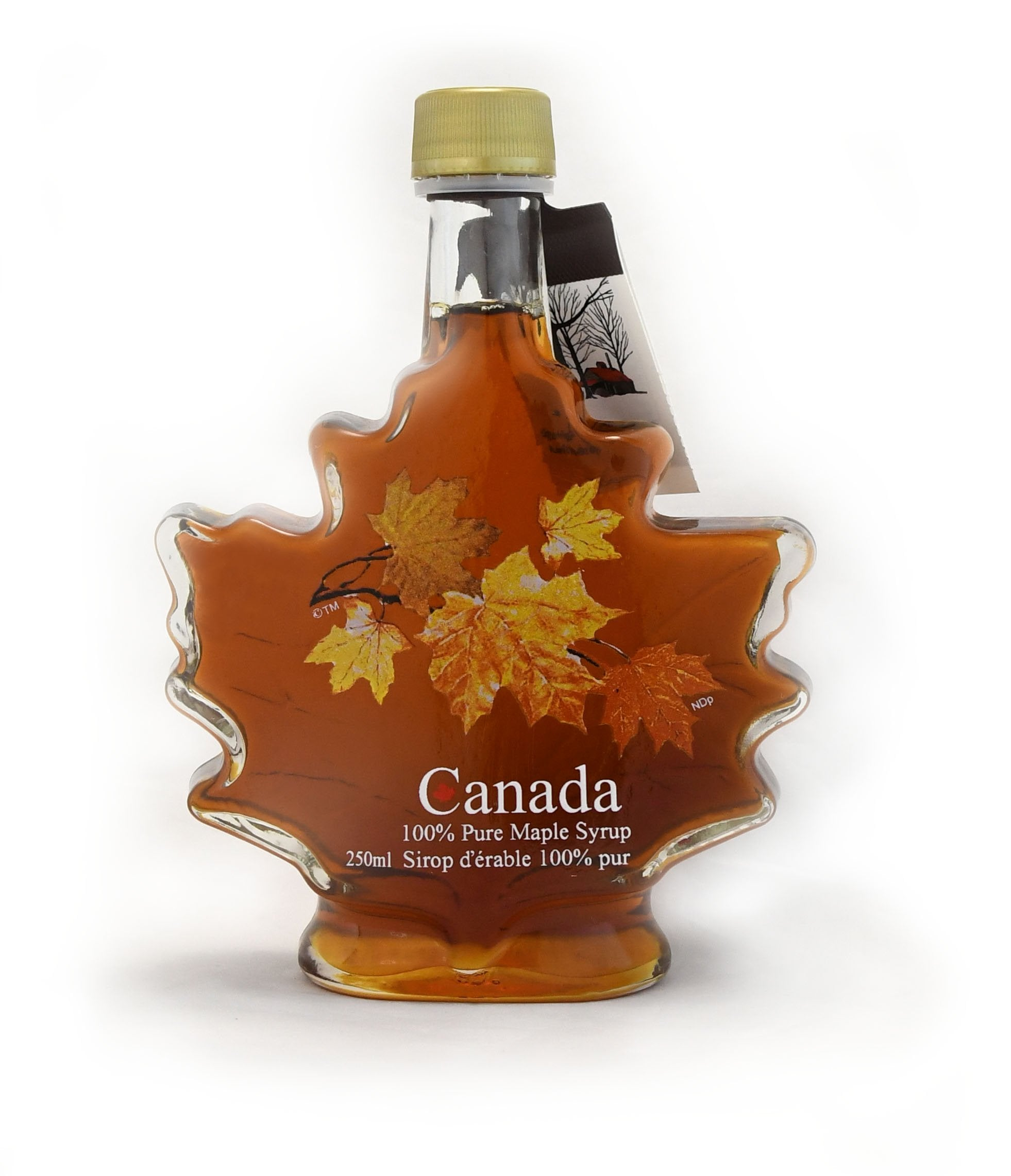 250ml Glass Autumn Leaf - Canada Grade A - Amber