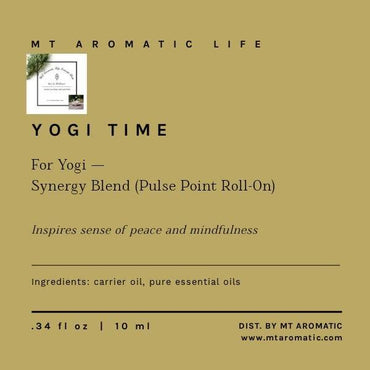 YOGI TIME - Synergy Massage Roll-on for Yogi - Aromatherapy - Peace, Love, Mindfulness - Grounding, Relaxing Gift