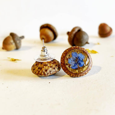 24k Gold Flake Forget-me-not Acorn Earrings