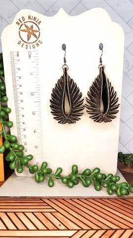 Leather Earrings/ Sculpted Earrings / 3D Triangle Fringe /Geometric Teardrop / Sculpted Teardrop/ Black Cork on Leather