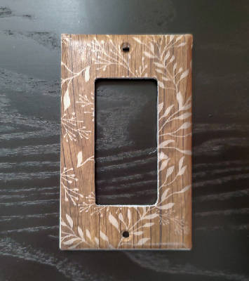 Fancy Handmade Light Switch Cover - Woodgrain Floral