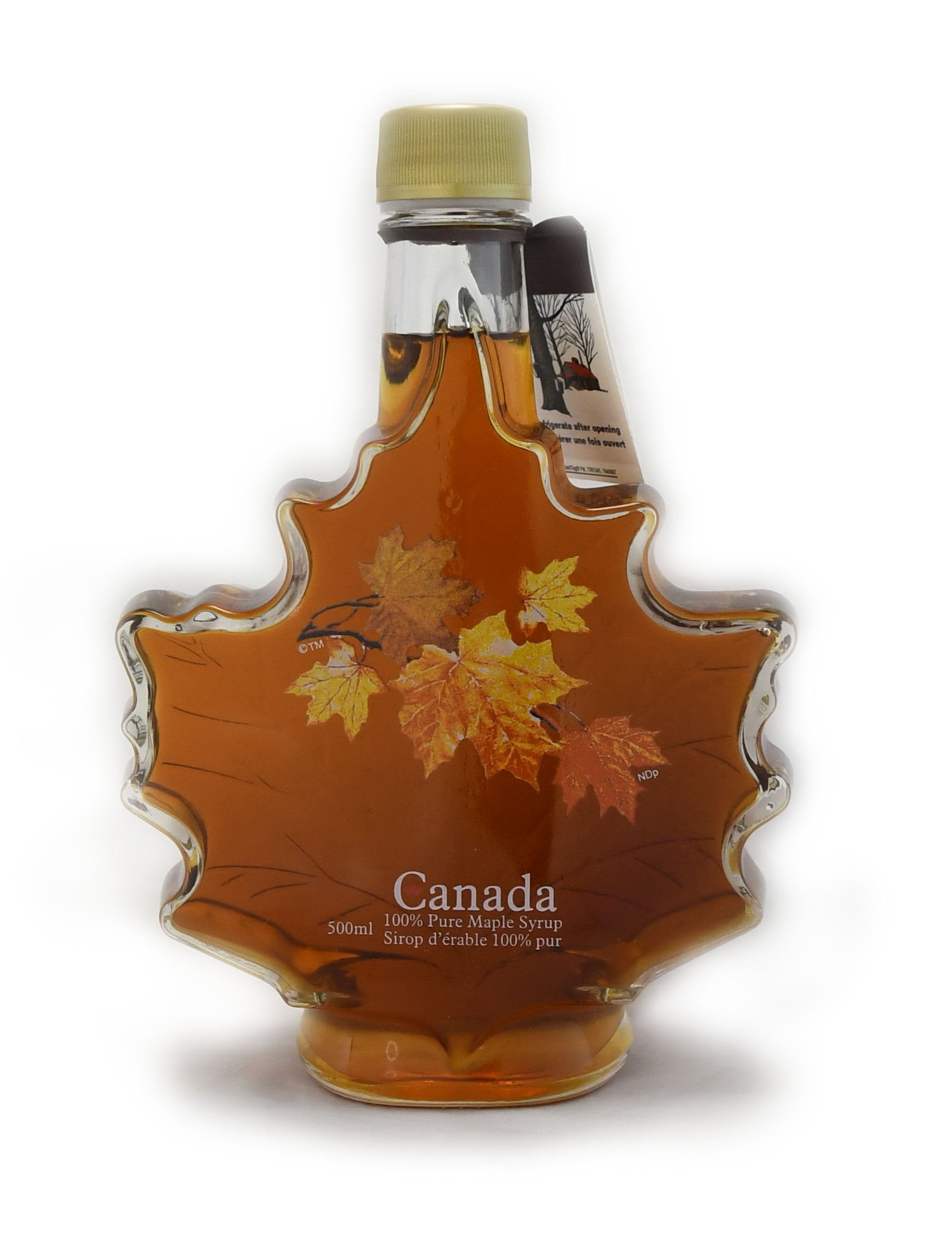 500ml Glass Autumn Leaf - Canada Grade A - Amber