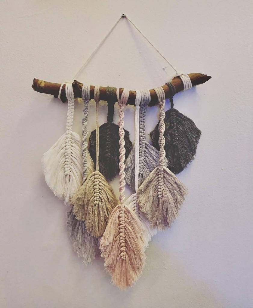 Macramé Layered Feathers Wall Hanging