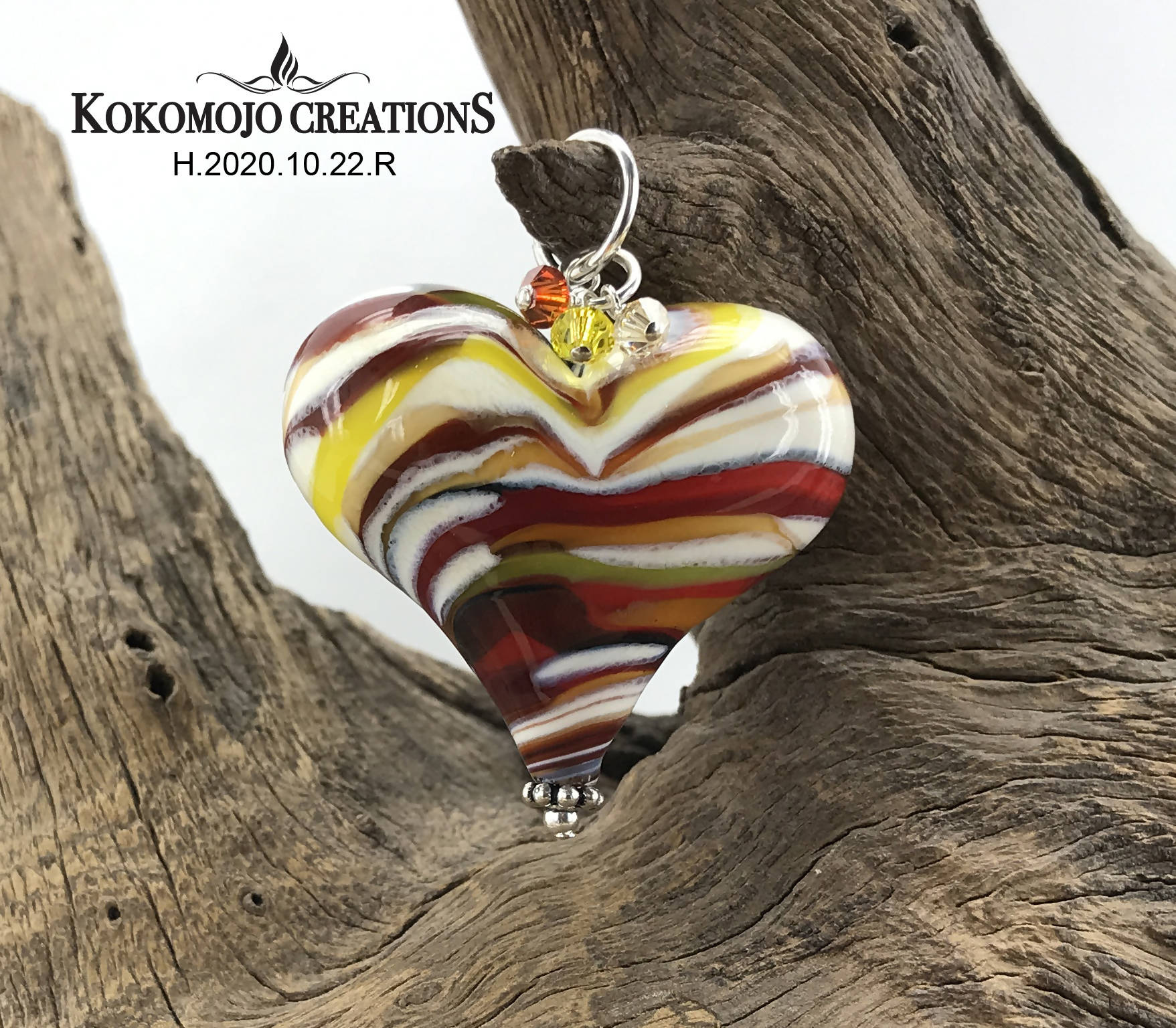 Handmade Lampwork Blown Glass and Sterling Silver Heart Pendant With Swarovski Crystals - H.2020.10.22.R