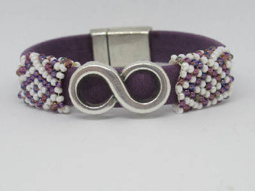 Purple leather flat band bracelet with hand beaded white-purple sleeves.
