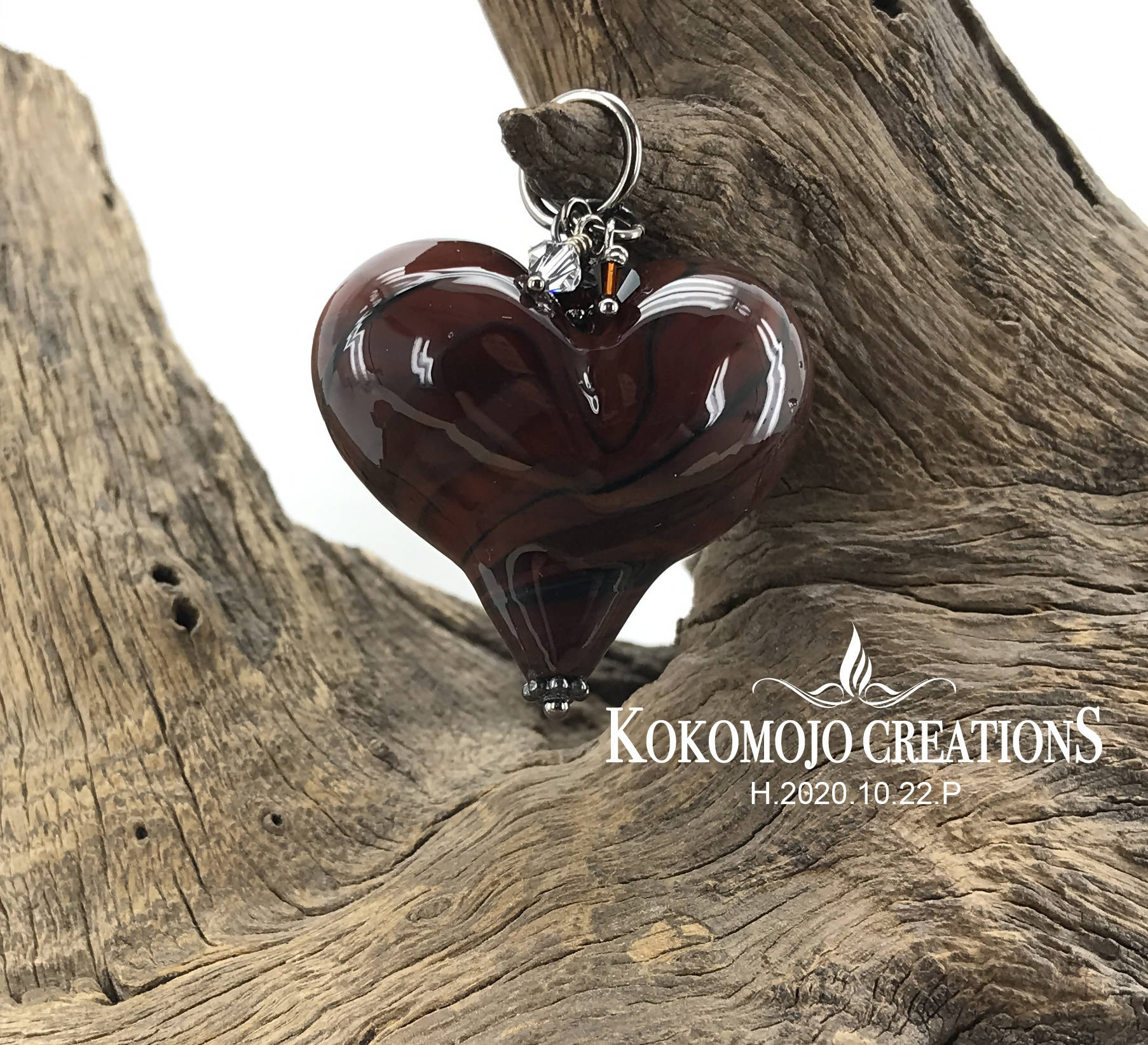 Handmade Lampwork Blown Glass and Gunmetal Black Heart Pendant With Swarovski Crystals - H.2020.10.22.P