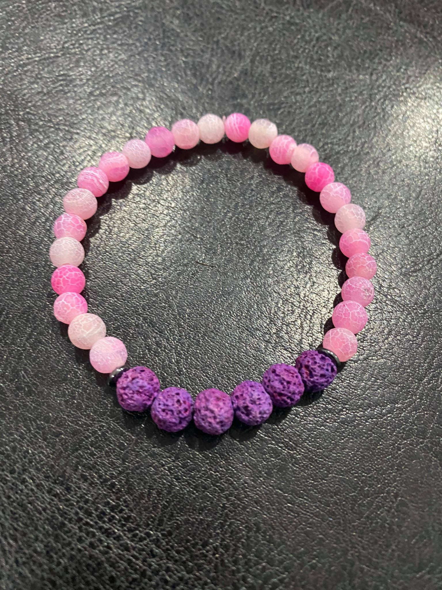 Pink Frosted Agate w/ Purple Lava Beads Semi-Precious Aromatherapy Bracelet