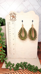 Leather Earrings/ Sculpted Earrings / 3D Triangle Fringe /Geometric Teardrop / Sculpted Teardrop/ Green Cork on Leather