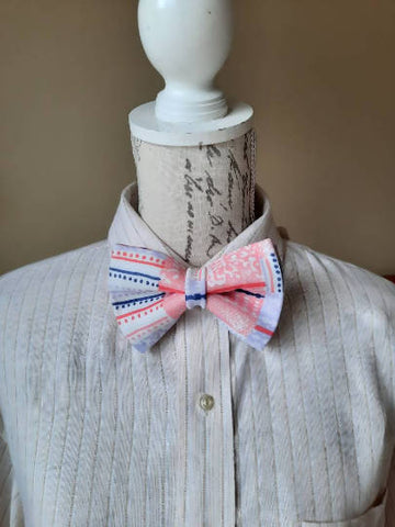 Pink and White Handmade Bowtie
