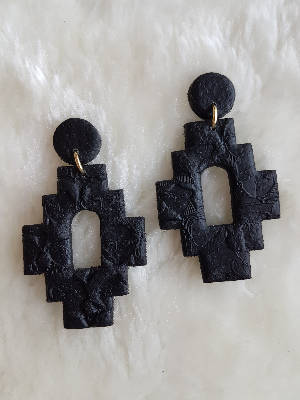 Black leather Aztec earrings