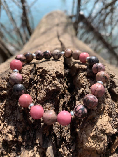 Rhodonite Healing Stretchy Boho Bracelet with Sterling Silver Spacers: Harmony, Balance, Compassion, Love. Pink, Brown, Multitone