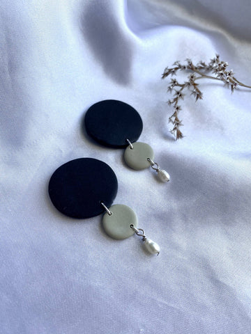 Black & Ochre Green Earrings w/ Real Pearl