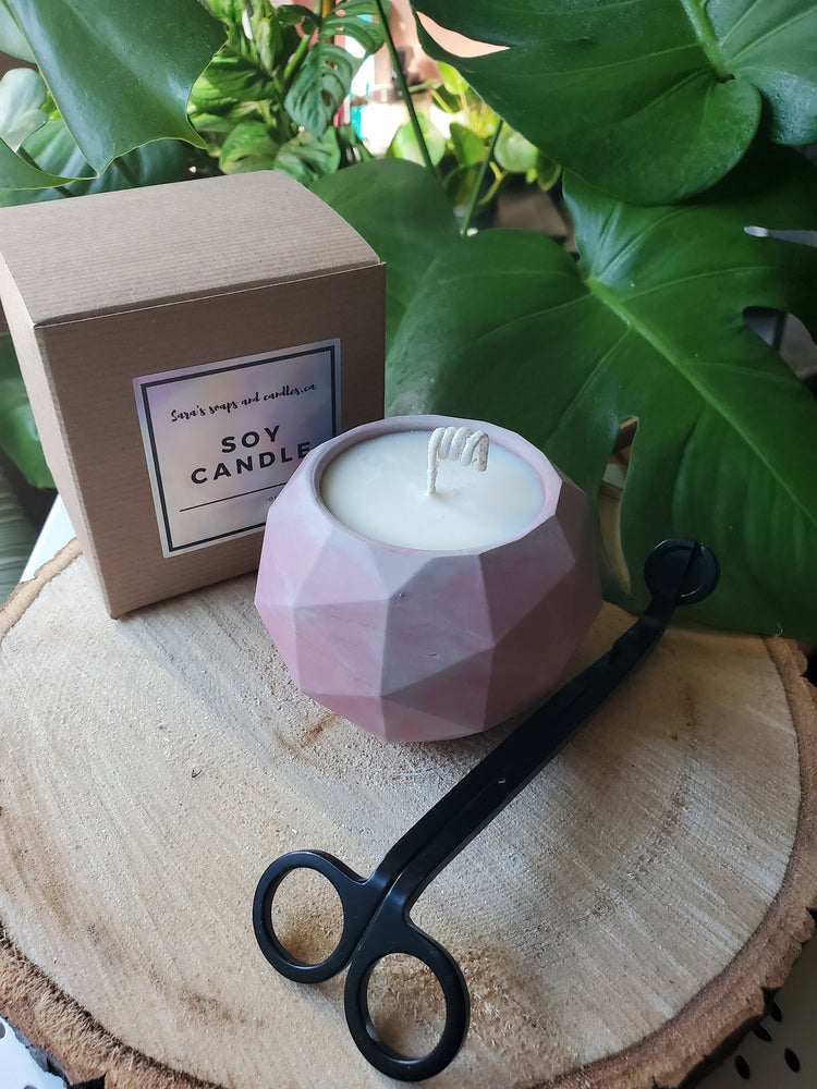 Concrete colab candle - pink rose