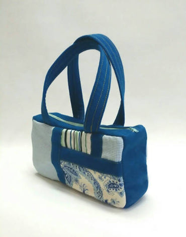 Blue Patched Handbag Handmade with Vintage Fabric