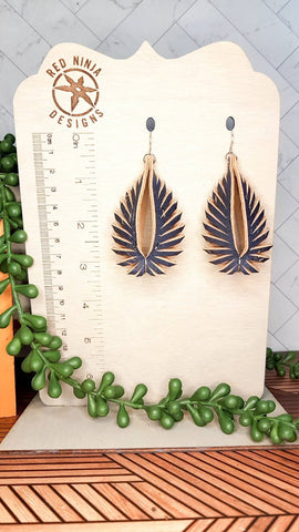 Leather Earrings/ Sculpted Earrings / 3D Triangle Fringe /Geometric Teardrop / Sculpted Teardrop/ Navy Blue Cork on Leather