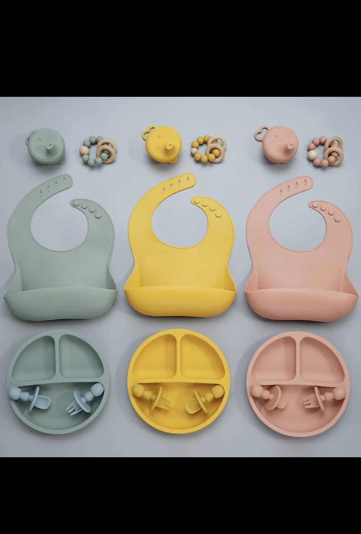 Silicon Feeding Set- Includes plate, spoon, fork, teether, bib, cup cover.