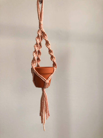 Mini macrame plant hanger car decoration hand dyed dusty rose- other colours available
