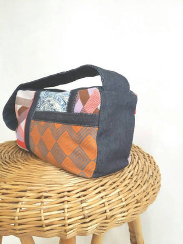Patched Orange and Blue Denim Handbag Handmade with Vintage Fabric