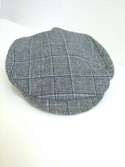 Black and White Plaid Newsboy Cap Handmade with Vintage Fabric