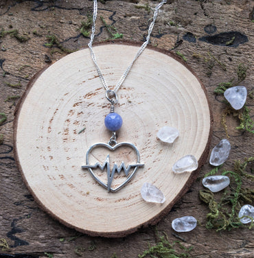 Heartbeat Gemstone Necklace, Celestite Jewelry, ECG Heart Necklace