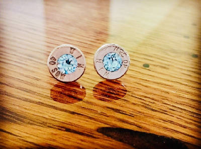 Bullet Stud Earrings - Light Blue