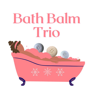 3 bath bombs in a peach claw bath tub with a woman bathing