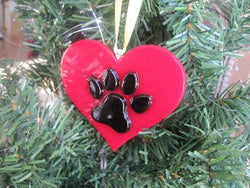 "Fused Glass ""I Love my Dog"" Ornament"