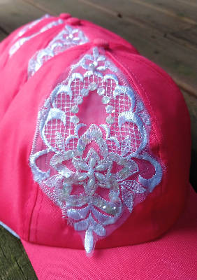 Pink and White Lace detail hat