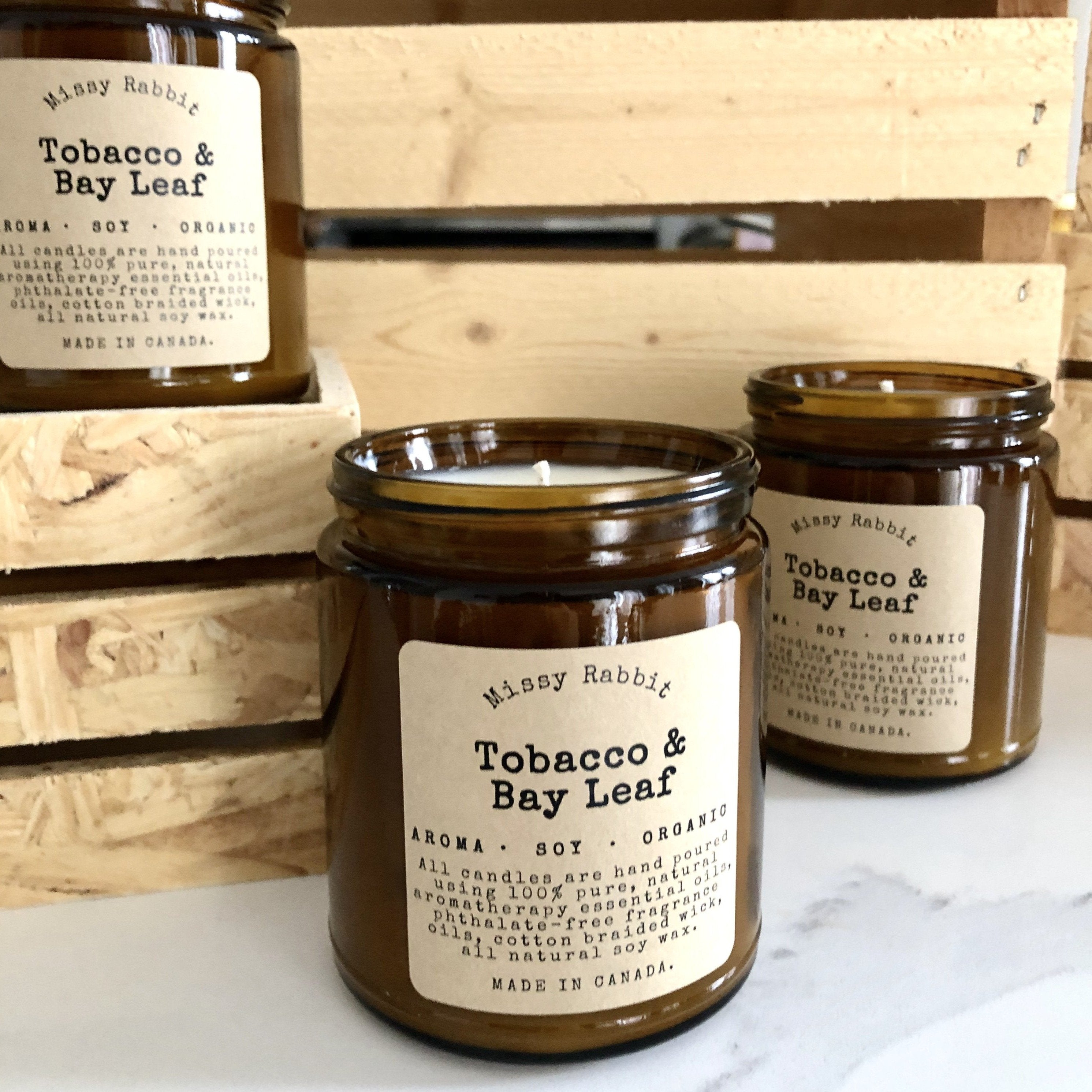 Tobacco + Bay Leaf Handcrafted Soy Candle