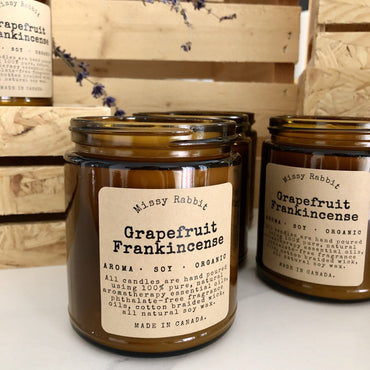 Grapefruit Frankincense Essential Oil Handcrafted Soy Candle