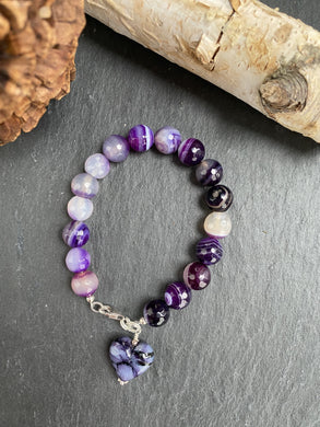 Purple Agate Bracelet with Glass Heart