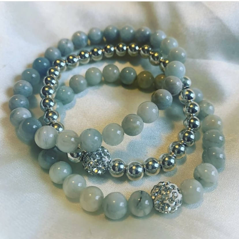 Aquamarine Beaded Bracelet Set