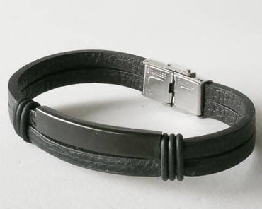Men's ID Leather Bracelet