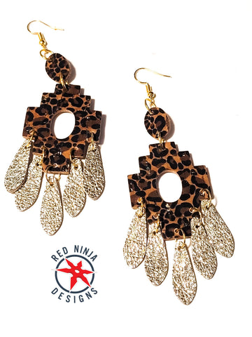 Genuine Leather Earrings /Aztec Dangle Earrings, Geometric Earrings, Leopard Print Cork and Gold Teardrop Dangle Leather/ Western